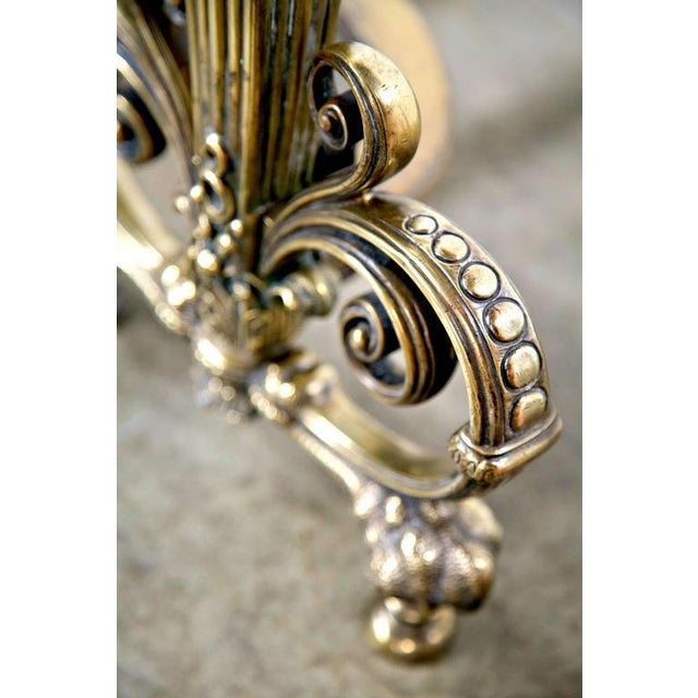 Gold Fine Pair of Brass and Wrought Iron Andirons Attributed to Tiffany Studios For Sale - Image 8 of 10