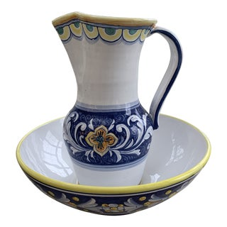 Late 20th Century Deruta Pitcher and Bowl - a Pair For Sale