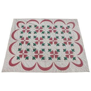 Fancy Appliqué Hearts Quilt For Sale