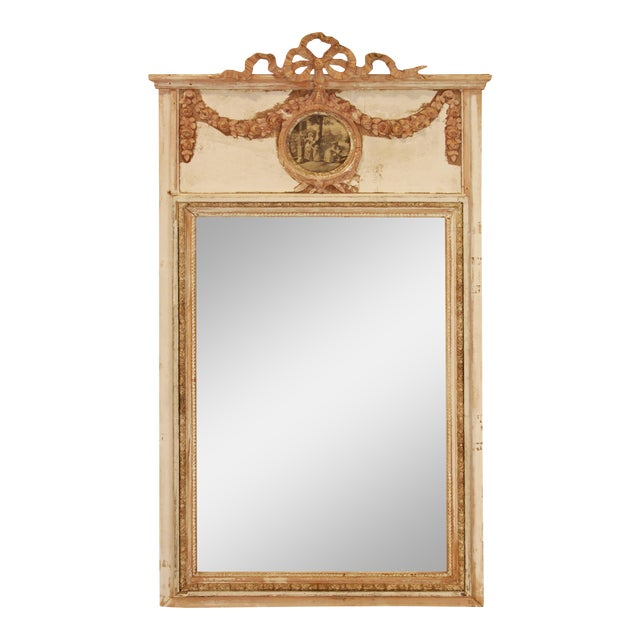19th Century French Laurel Trumeau Mirror For Sale