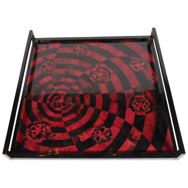 Exotic pen shell tray in opulent tones of red and black. Hand-dyed and lacquered, featuring mosaic inlay top with...