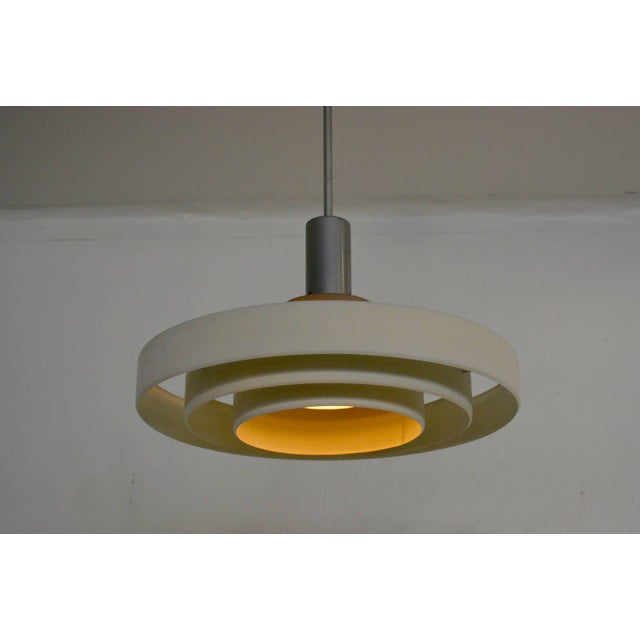 Mid-Century Modern Architectural Aluminum Shade Hanging Lamp For Sale - Image 3 of 10