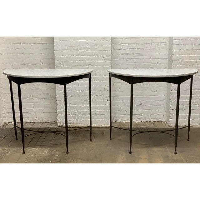 Black Pair French Wrought Iron and Carrara Marble-Top Demilune Tables For Sale - Image 8 of 8