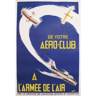 Original Vintage 1950s French Aviation Poster