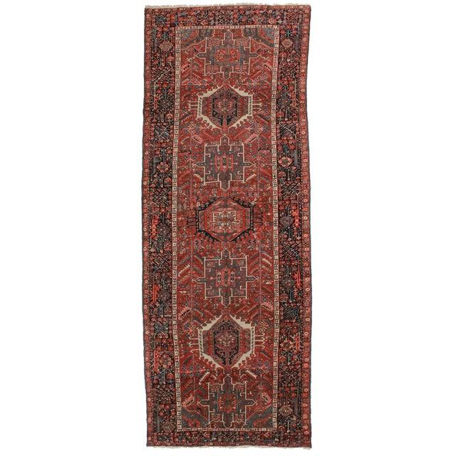 Vintage Persian Heriz Runner - 4′5″ × 12′1″ For Sale