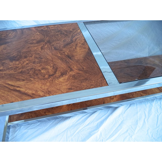 Mid-Century Chrome & Burl Coffee Table - Image 4 of 6