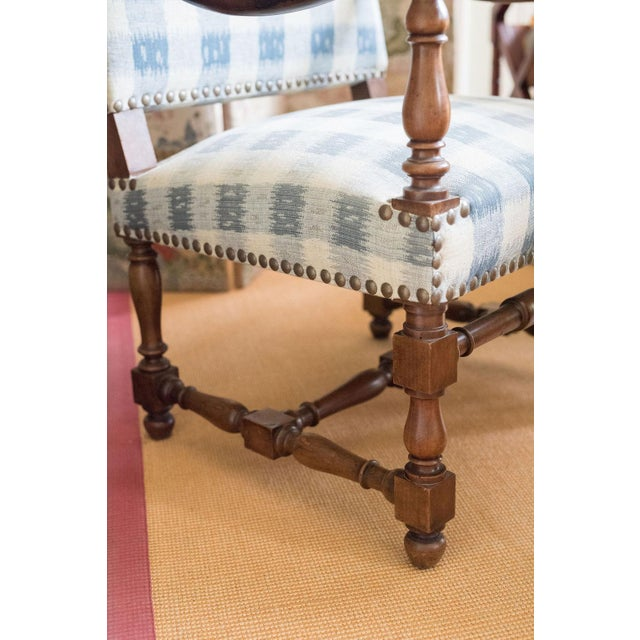 Wood Walnut French Armchair in Brunschwig Fabric For Sale - Image 7 of 8