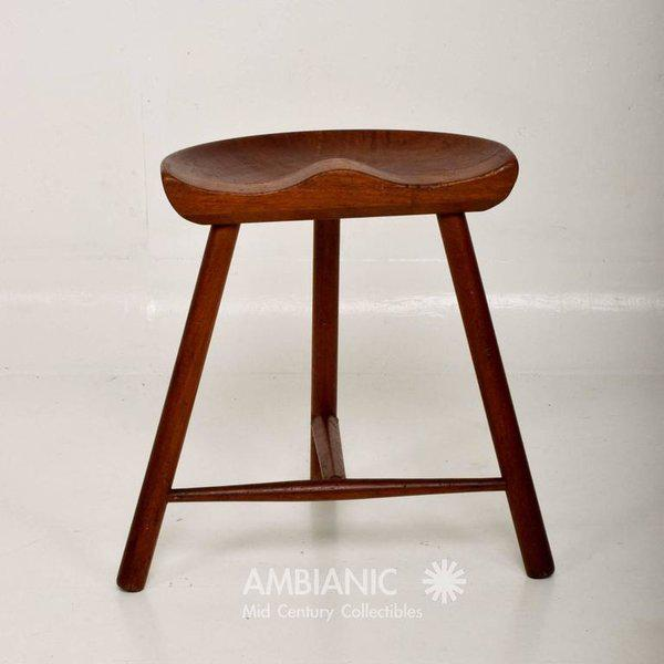 For your consideration a solid teak vintage stool with sculptural lines. No stamp or signature present from the maker....