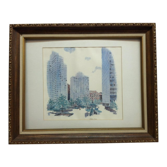 """1970s Vintage """"Gateway Center"""" Pittsburgh, Pa Framed & Matted Print For Sale"""