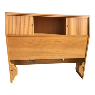 Mid-Century Twin Size Captain Style Storage Headboard For Sale