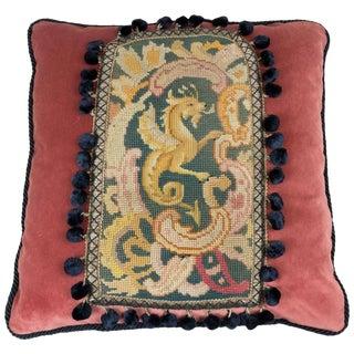 19th Century Griffin Tapestry Pillow on Brown Velvet For Sale