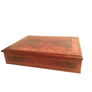 19th Century Traditional Mahogany Marquetry Sewing Box For Sale