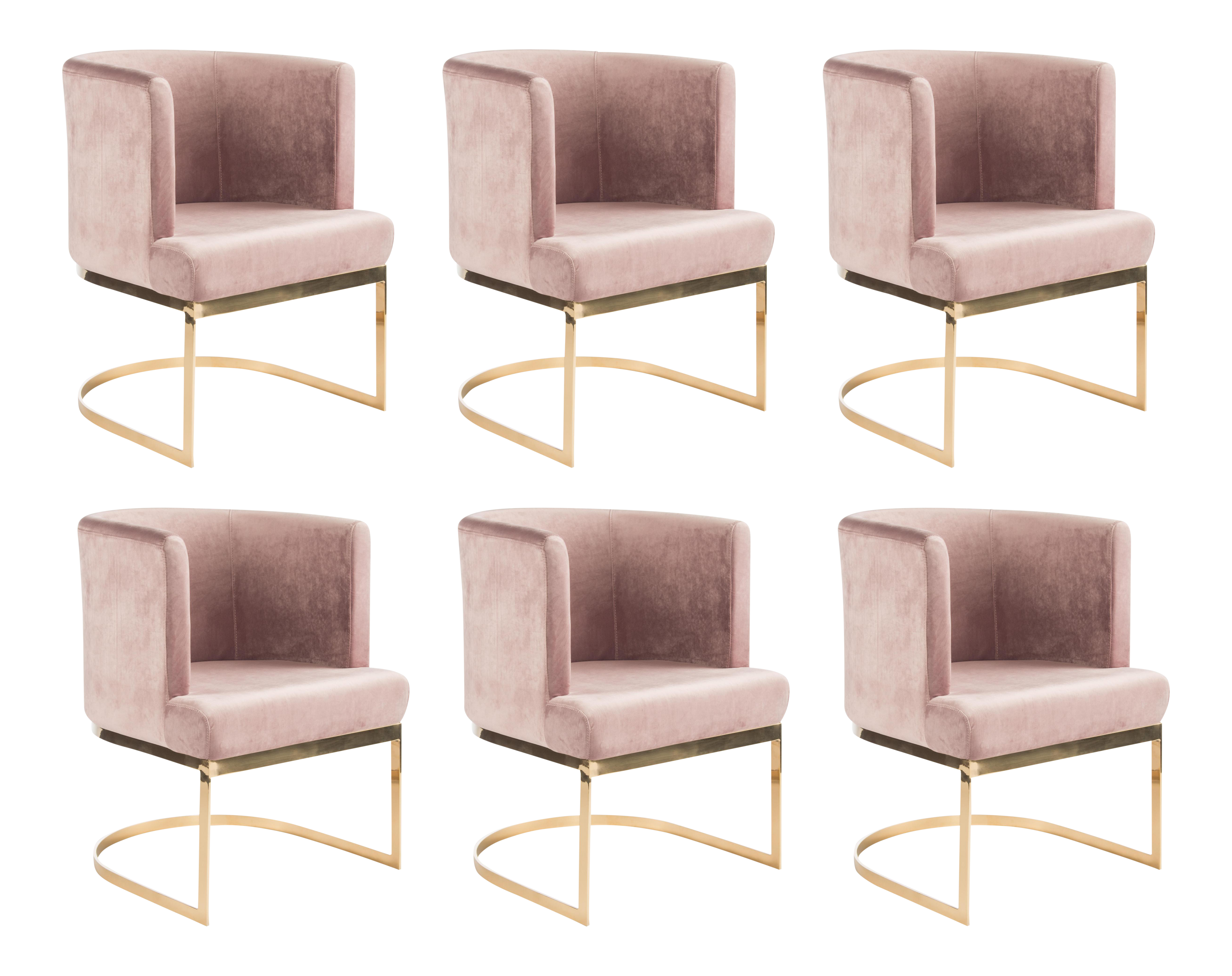 Modern Blush Velvet U0026 Gold Circular Accent Chairs   Set Of 6