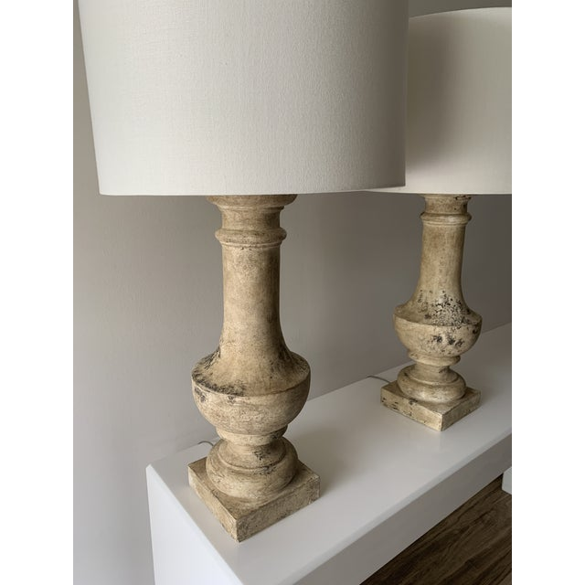 """1970s Plaster """"Stone"""" Baluster Lamps - a Pair For Sale - Image 11 of 12"""
