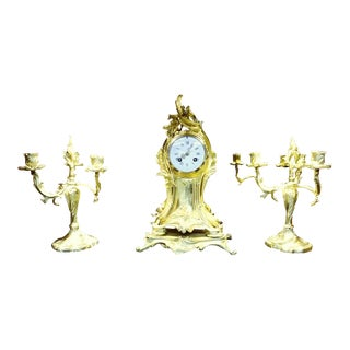 Antique French Rococo Gilded Clock and Candelabra Set - 3 Pieces For Sale