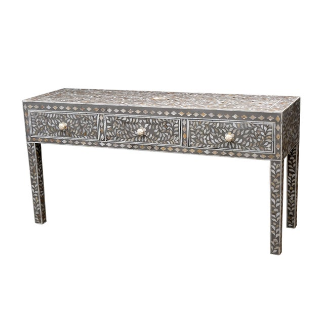 Gray Mother of Pearl Inlay Console - Image 4 of 5