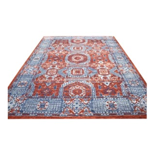 """Mamluk Style Hand-Knotted Transitional Geometric Red and Blue Eclectic Rug - 10'5"""" X 14'5"""" For Sale"""