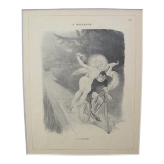 1900's Original Vintage French Art Deco Magazing Page - La Fortune by Adolphe L. Willette For Sale