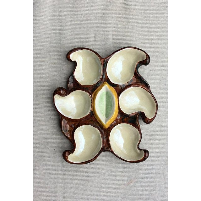 1950s French Vallauris Earthenware Oyster Plate For Sale - Image 5 of 6