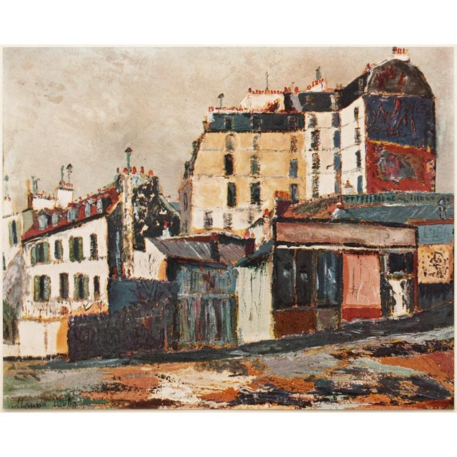 """A lovely vintage lithograph after painting """"Rue Ravignan"""" (about 1911), one of Parisian streets, by French artist Maurice..."""