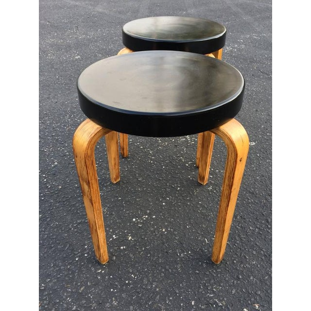 1950s SOLD-Authentic Thonet Stacking Stool Tables - a Pair For Sale - Image 5 of 11