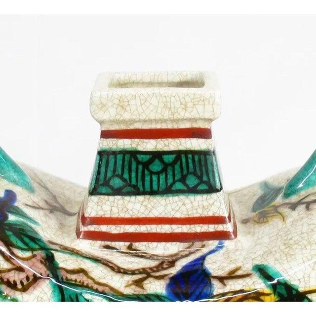 Blue Antique Kutani Floral Vase For Sale - Image 8 of 11