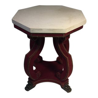 Hadrian Octagonal Table in Studded Red Velvet With Claw Feet For Sale