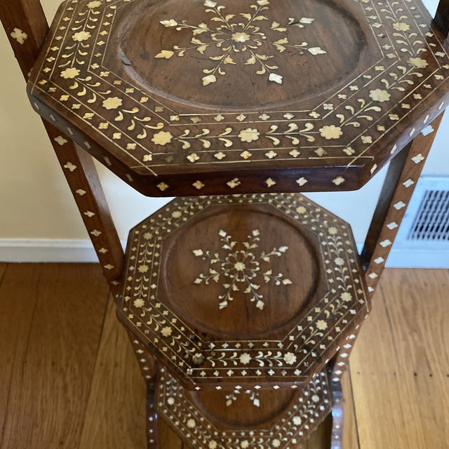 English Anglo Indian Bone Inlaid Cake Stand For Sale - Image 3 of 13