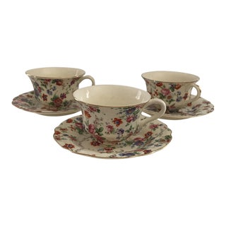 Chintz Tea Cups & Saucers - Service for 3 For Sale