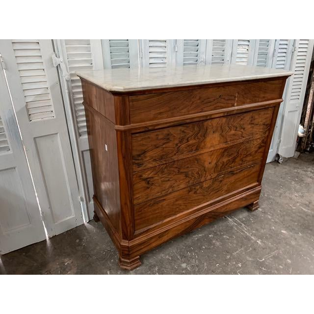 19th Century French Louis Philippe Bookmatched Commode With Marble Top For Sale - Image 4 of 12