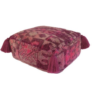 Vintage Moroccan Purple and Pink Pouf For Sale