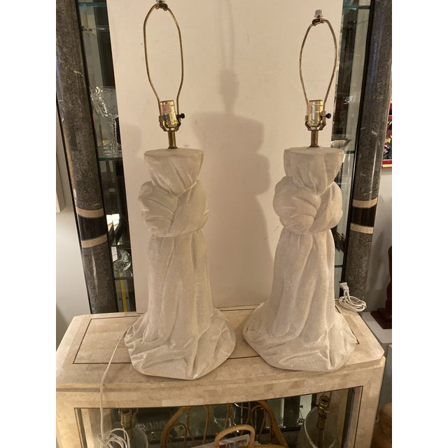 Pair of Plaster Lamps on the Style of John Dickinson For Sale - Image 11 of 13