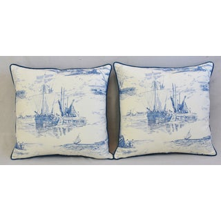 "French Blue/White Nautical Feather/Down Pillows 24"" Square -Pair Preview"