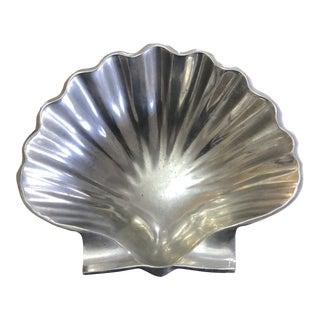 Vintage Pewter Shell Bowl For Sale