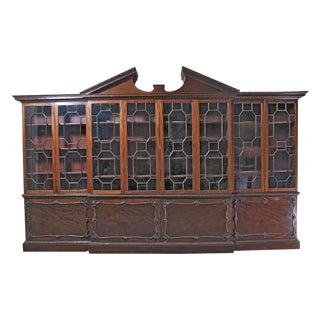 Circa 1860 George III Style Mahogany Breakfront Bookcase