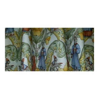 Chinoiserie Custom Made Lined Silk Curtain Panels - a Pair For Sale