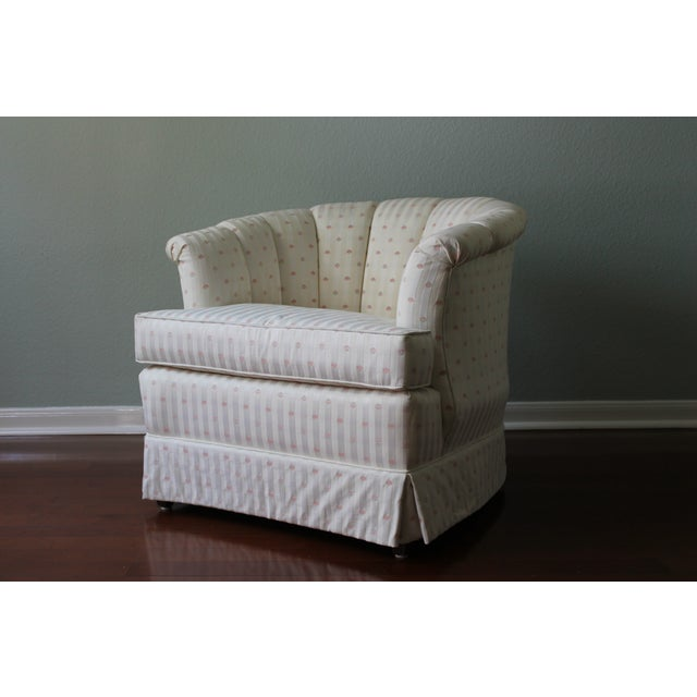 Upholstered Tufted Barrel Chairs - A Pair For Sale - Image 10 of 11