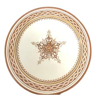 Medium Moroccan Hand Painted Brown Star Ceramic Plate For Sale