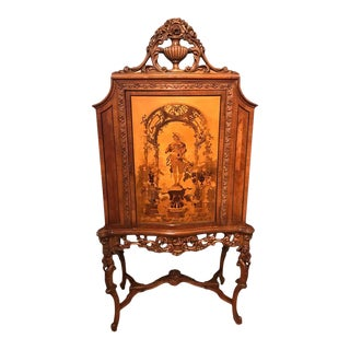 French Carved Marquetry Cabinet or Bar For Sale