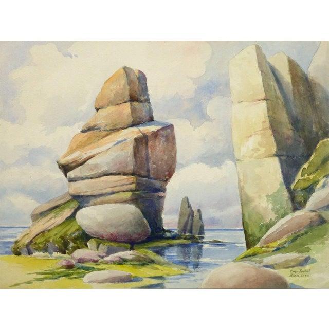 S. Lefevre Goux, Vintage French Watercolor Seascape - Cape Fréhel, Brittany, France For Sale