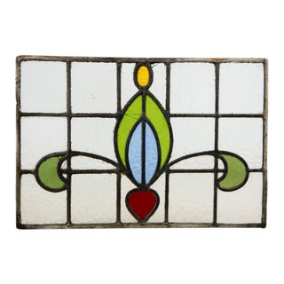 19th Century Art Nouveau Fleur-De-Lis Stained Glass Window For Sale