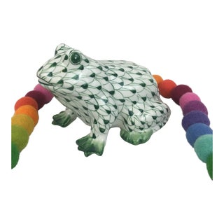 Herend Style Hand Painted Green and White Fishnet Frog Figurine For Sale