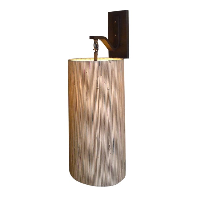Modern Sconce with Custom Grasscloth Shade - Image 1 of 9