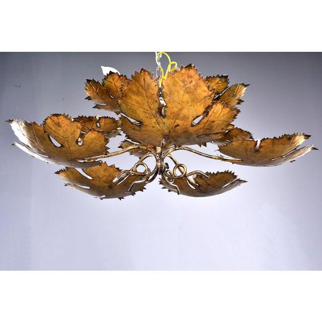 Mediterranean Spanish Gilt Metal Leaf Form Five Light Hanging Fixture For Sale - Image 3 of 13