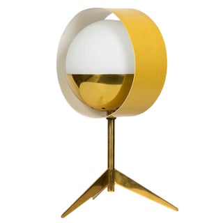 1950s Stilux Milano Brass & Glass Tripod 'Saturno' Table Lamp