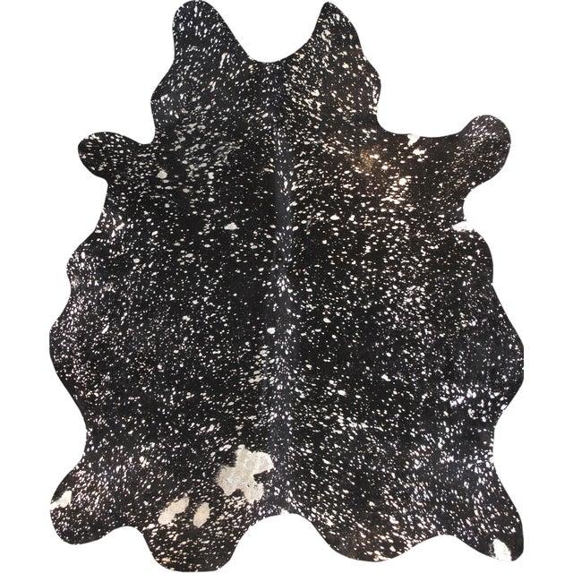 """Black Cowhide Rug- 5'10"""" X 7'4"""" - Image 1 of 4"""