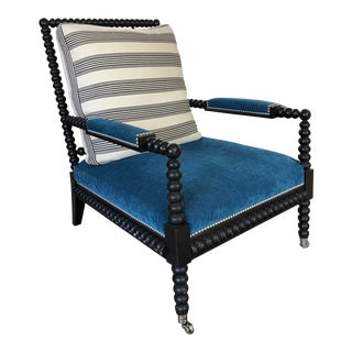 Bohemian Spindle Blue Upholstered Armchair For Sale