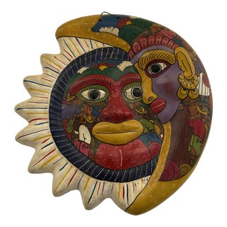 1970s Mexican Folk Art Terra Cotta Hand Painted Sun and Crescent Moon Wall Plaque For Sale