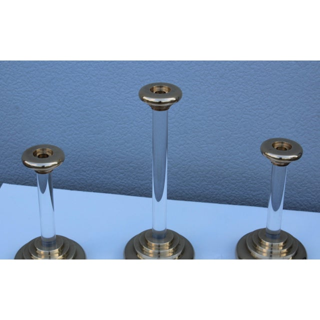 1980s Lucite and Brass Large Candleholders For Sale - Image 12 of 13