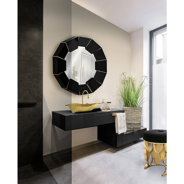 Mid-Century Modern Darian Black Mirror From Covet Paris For Sale - Image 3 of 9